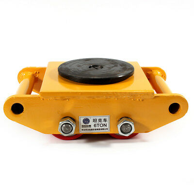 360° 6T Heavy Machine Dolly Skate Roller Machinery Mover Cargo Trolley 13200lb !