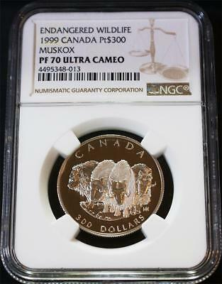 1999 $300 1 Ounce .9995 Canada Proof Platinum Wildlife Muskox NGC PF 70 UC