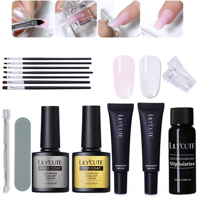 20ml Quick Poly Building Gel Nails Kits Slip Solution Brush File Extension DIY