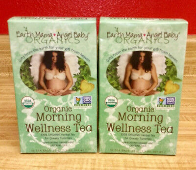 Earth Mama Angel Baby Organic Morning Wellness Tea 16 Tea bags 2Pk Exp 2/3/2019