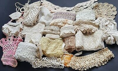 Antique VTG Lace Trim Edging Crochet Tatting Sewing Crafting Pieces Lengths LOT