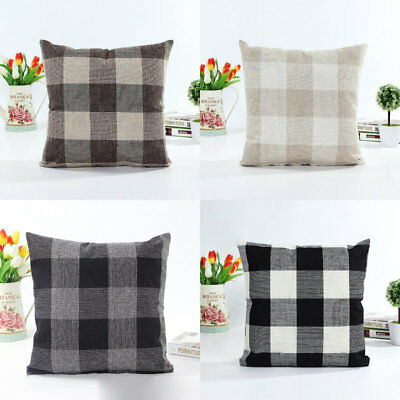 Modern Check Pattern Sofa Decor Back Coushion Cover Throw Pillow Case Square