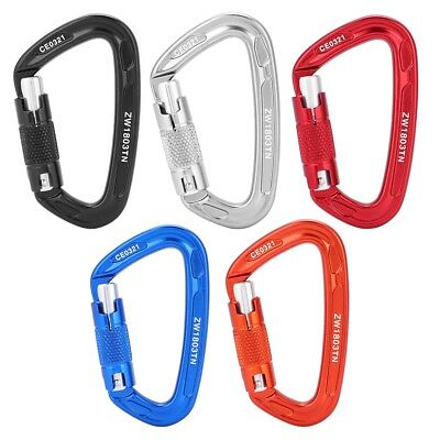 25KN Climbing Carabiner Snap Clip Locking D Buckle Keychain Outdoor Rescue Tool