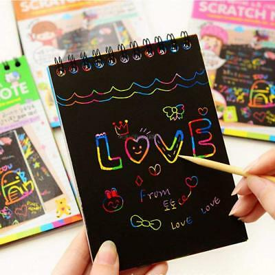 Multicolor Drawing Writing Scratch Paper Notebook With Wooden Stylus Kids C5