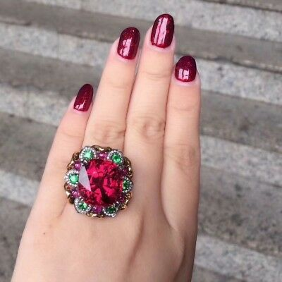 Vintage Oval Ruby Emerald Pink Sapphire CZ Cocktail Ring Silver Rose Gold Finsh