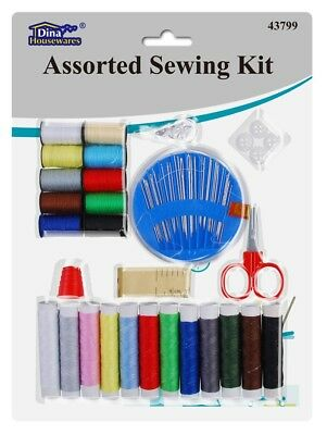 Sewing Kit Assorted Needles, Thread, Buttons, Tape, Thimble, Scissors