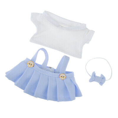 Fashion Girl Dolls Blue Suspender Skirt And Short Sleeve Top For 20cm Dolls