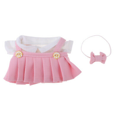 Fashion Girl Dolls Pink Suspender Skirt And Short Sleeve Top For 20cm Dolls