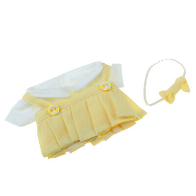 Fashion Girl Dolls Yellow Suspender Skirt And Short Sleeve Top For 20cm Doll