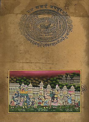 Old Stamp Paper Painting Hand Painted Mughal Procession Wall Decor Indian Art