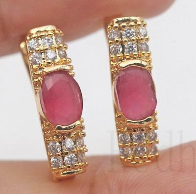 18K Gold Filled - Oval Ruby Topaz Rectangle Gemstone Cocktail Lady Hoop Earrings