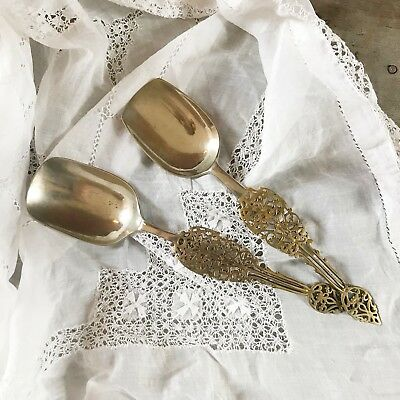 Vintage decorative spoons serving spoons silver plated and brass