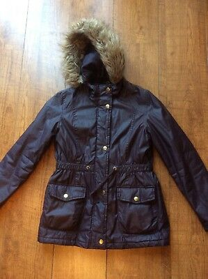 Girls Age 10 - 11 George Parka Coat With Faux Fur Lined Hood