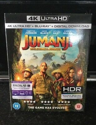 Jumanji Welcome To The Jungle 4K UHD + HD Blu-ray + Download Codes. BRAND NEW