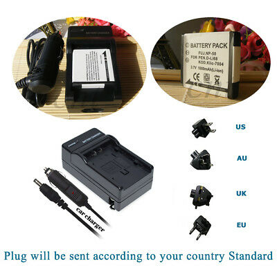 NP-50 Battery / Home & Car Charger for Fujifil F70EXR F80EXR Z100FD Real 3D W3