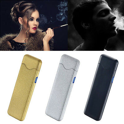 Fingerprint Touch USB Rechargeable Dual Arc Flameless Plasma Electric Lighter AT