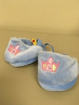 Build A Bear fuzzy blue Slippers with princess crowns girls shoes