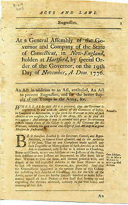 Rare Connecticut Law Printed November 1776 Revolutionary War To Supply Troops