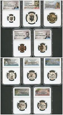 2018 S SILVER REVERSE PROOF 50th Anniversary 10 Piece set NGC PF70 ER