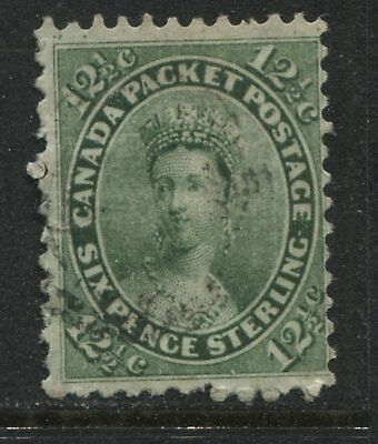 Canada 1859 12 1/2 cents green very lightly used