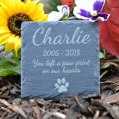 Memorial Plaque For Dog - Personalised Dogs Grave Stone Square Slate Marker Gift