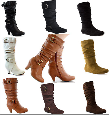 593ec918e New Womens Flat Heel Zipper Buckle Slouchy Mid-Calf Knee High Boots Shoes