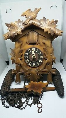 Vintage Wooden Cuckoo Clock With Pine Weights  For Restoration Or Spares.
