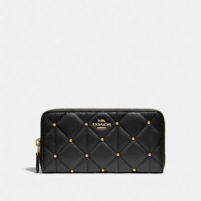 New Coach F15763 Accordion Zip Wallet With Quilted Calf Leather Black