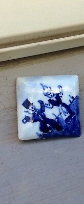 Blue Delft DANCING DUTCH COUPLE - Vintage Pottery Holland Brooch Pin