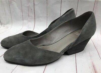 b6bb312a43df EILEEN FISHER LILY Half D orsay Gray Suede Heels Shoes Sz 8.5 ...