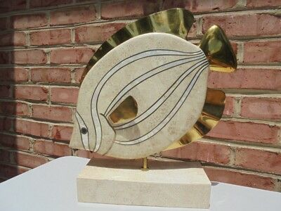 Vintage Maitland Smith Tessellated Stone & Brass Large Fish Sculpture 15 3/4""