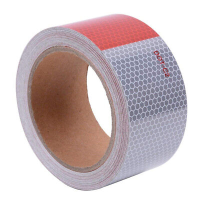 """DOT-C2 Safety Reflective Tape Auto Car Red And White Adhesive Strip 2"""" x30' US"""