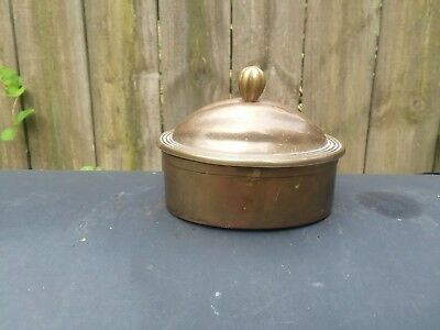 """Vintage Solid Brass Oval Trinket Box with Lid """"India"""""""