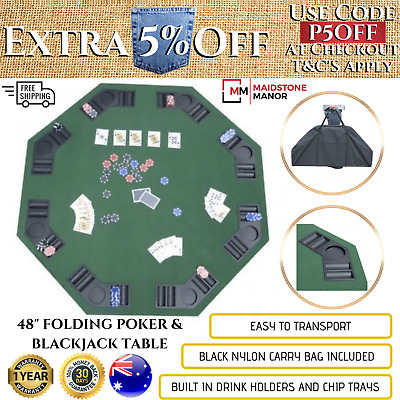 "Folding Poker Table 48"" Blackjack Games Cards Vegas Cup Holders Texas Party New"
