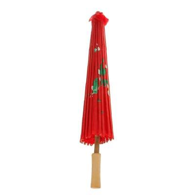 1pc Vintage Red Cloth Umbrella Bamboo Chinese Oriental Style Parasol Home Dec