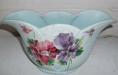 lovely old 1940's aqua hand painted PANSY FLOWER pottery vase - 26cm in length