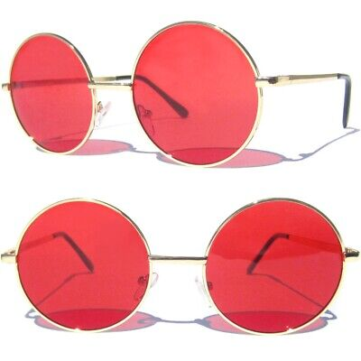 d9675712fbae RED LENS ROUND SUNGLASSES Gold Color Metal Frame Lennon Ozzy Style Hippie