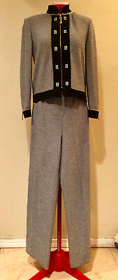 ST JOHN COLLECTION by Marie Gray BLACK/GREY KNIT PANT SUIT KEY/CHAINLadies Sz 2