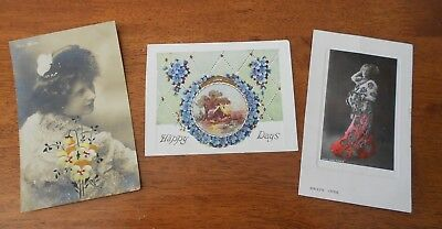 Lot of 3 x Early 1900s Postcards With Red Qld 1d and Victoria 1d stamps Actress