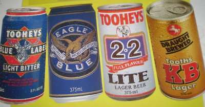 FOUR beer advertising Bowls score cards - Tooheys, KB, Eagle