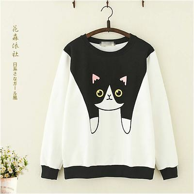 Sweet Mori Girls Harajuku Cat Printed Long Sleeve Coat Pullover Tops Kawai#6-104
