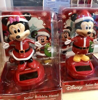 NEW Disney CHRISTMAS MICKEY & MINNIE MOUSE SOLAR BOBBLE HEAD SET Bobblehead