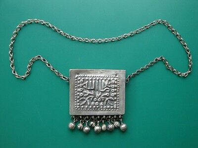Ottoman silver alloy box for amulet or Koran with markings + inscription 19th c