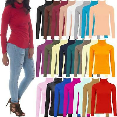 WOMENS LADIES RIBBED POLO NECK TOP JUMPER TURTLE ROLL NECK FULL SLEEVE PLA*Polo