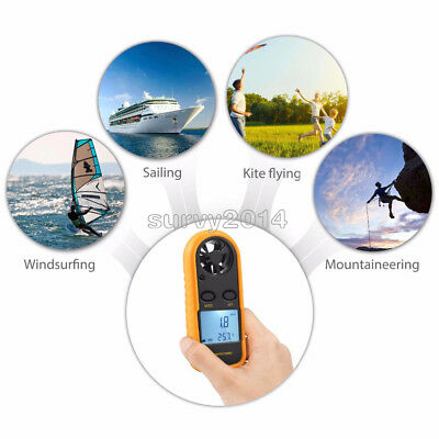 Digital NTC Thermometer Mini LCD Wind Speed Gauge Air Velocity Meter Anemometer