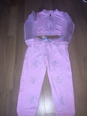 Girls Microbe Crop Jacket Diamonte Tracksuit Age 5-6