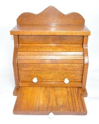 Rare LARGE Vintage Solid Oak Bread Box W/ Cutting Board Porcelain Handles *BEST*