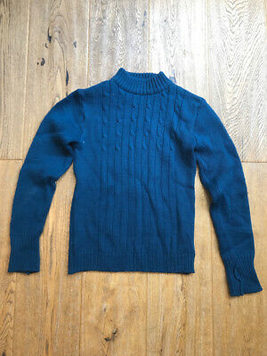 1960's Beautiful Blue Wool Child's Jumper, Vintage British Knitwear. Teenager
