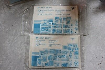 Nisp Canada Post January-June And July-December 1988 New Issue Postage Stamps