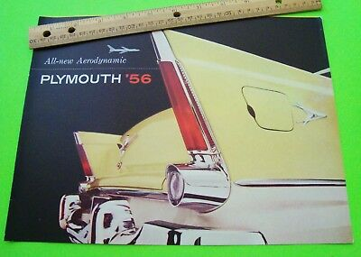 1956 PLYMOUTH BIG DLX COLOR FOLDER BROCHURE Suburban CONVERTIBLE Full Line XLNT+